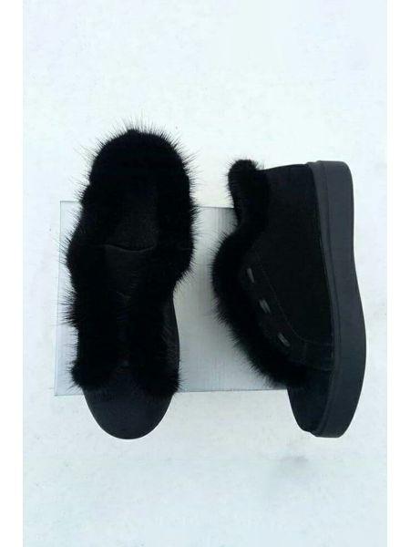 11991 Кеды замшевые черные с мехом норка