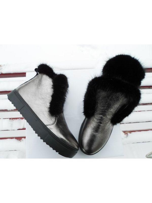 Ботинки кожа цвет никель норка