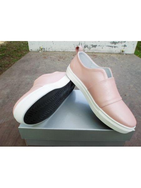 Слипоны кожа розовый